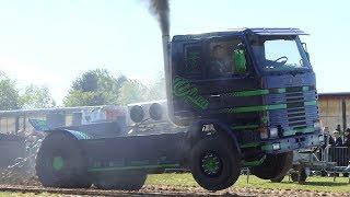 Scania 142M V8 Turbo Pulling The Heavy Sledge at Sdr. Vissing Pulling Day   DK Pulling