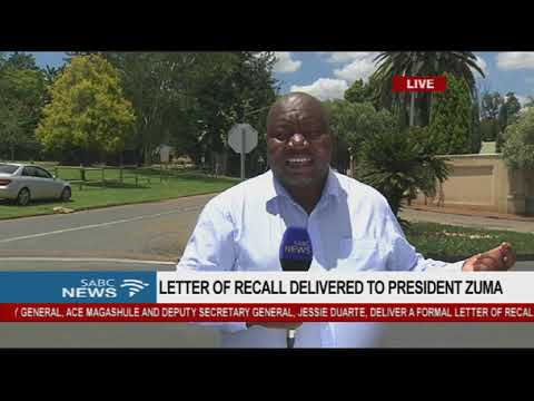 Letter of recall delivered to President Zuma, Mzwai Mbeje reports