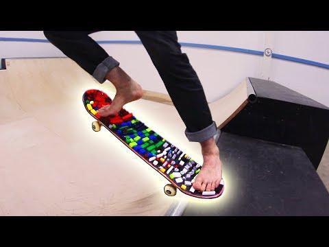 BAREFOOT LEGO SKATEBOARDING! *PAINFUL*