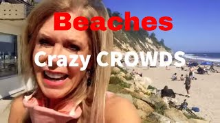 CLOSE BEACHES? Santa Barbara California Beach PACKED  No Face Masks