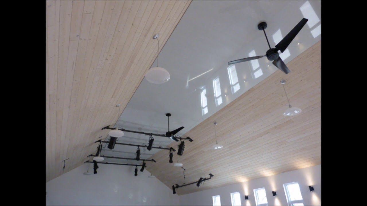 remodelling church: high gloss stretch ceiling for the auditorium