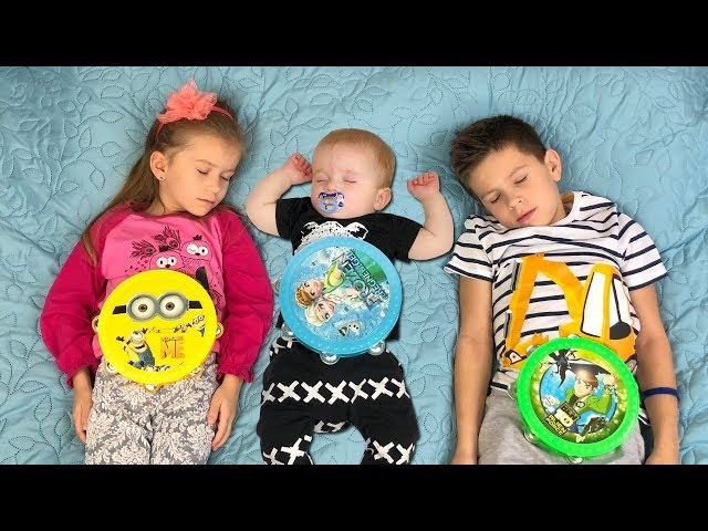 Kids play with COLOR TAMBOURINES and song Are you sleeping brother John with JoyJoy Lika