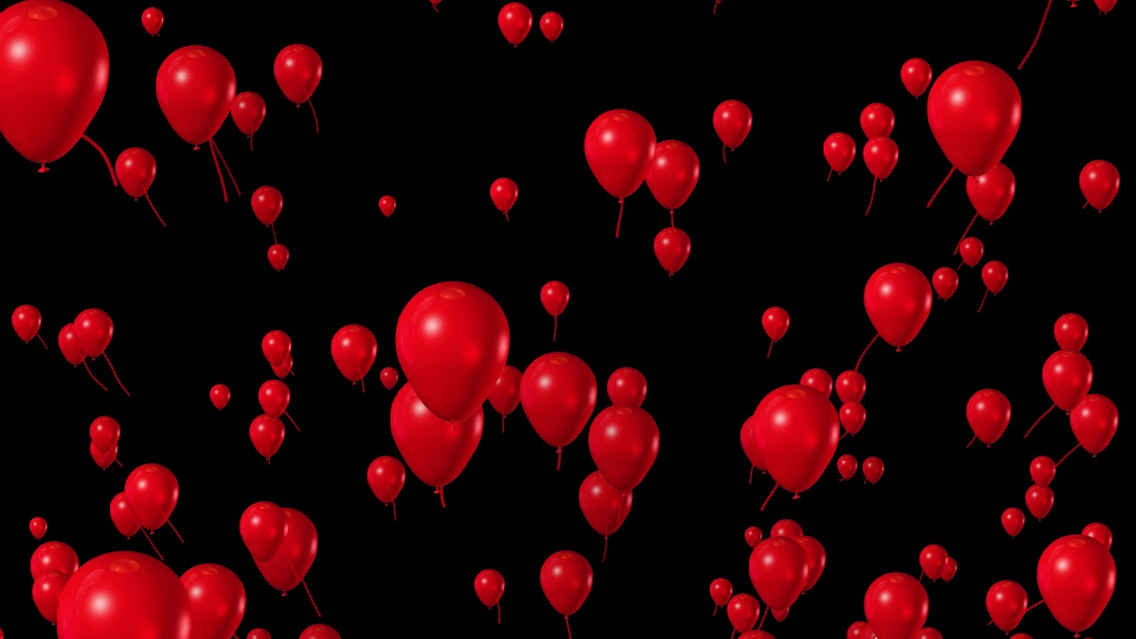 Flying Red Balloons Animation In Black Screen Background Youtube