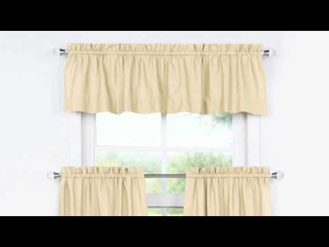 Shaker Beige Solid Cotton Kitchen Tier Curtain & Valance Set (3pc)