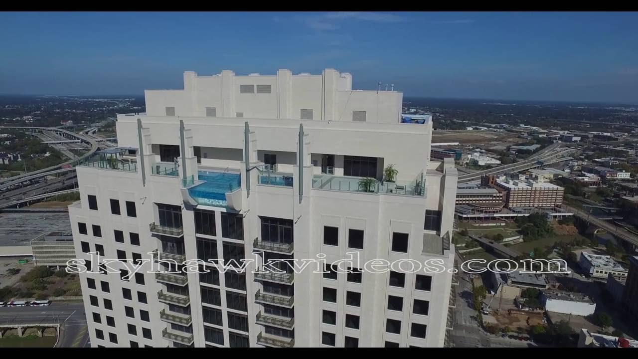 Drone 40 Stories High Glass Bottom Pool Extends 10 Feet