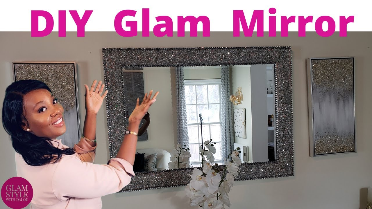 Diy Glam Mirror How To Use Crushed Glass Mirror To Glam Up A Mirror Frame New 2020 Home Decor Youtube