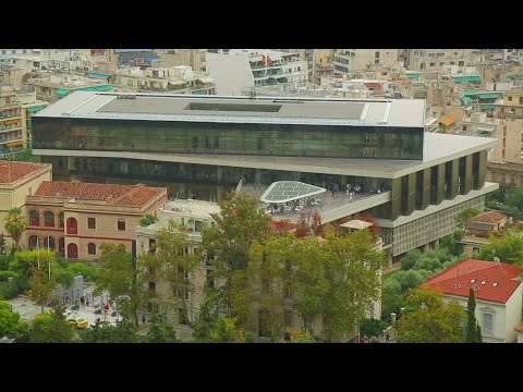 Modern building of new Acropolis Museum in ancient city of Athens, tourism. Stock Footage