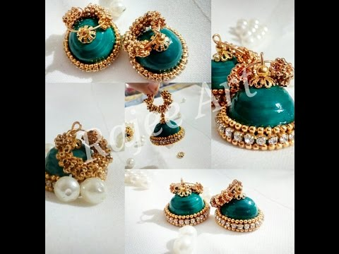 Papercraft Sea Green  |  Quilling Jhumkas - Rajee Art