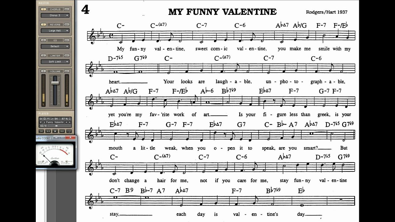 My Funny Valentine Playalong For Cornet Trumpet Vocal Or Any Bb Instrument  With Lyrics
