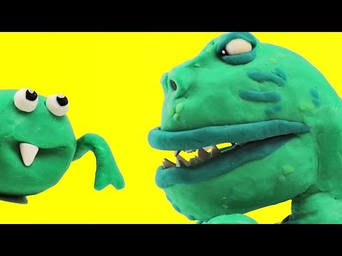 T-Rex Dinosaur & Spiderman playtime cartoon Tyrannosaurus Rex Play Doh Stop Motion
