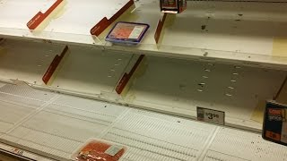 Panic Shopping Before A Blizzard The Shelves Are Emtpy