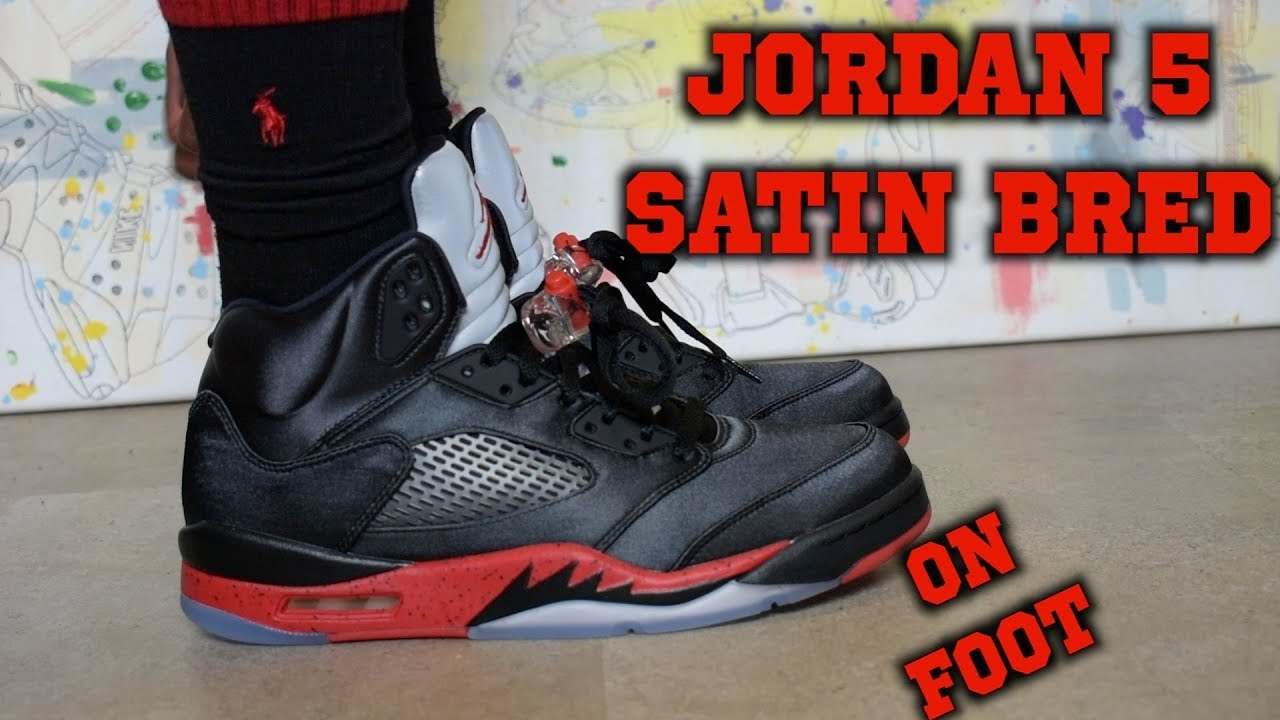 new arrival a8bdf 4b1fd Air Jordan 5 Retro Satin Bred ON FOOT