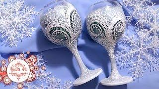 Декор бокалов. Новогодняя идея. Зимний рисунок. Кружевная роспись