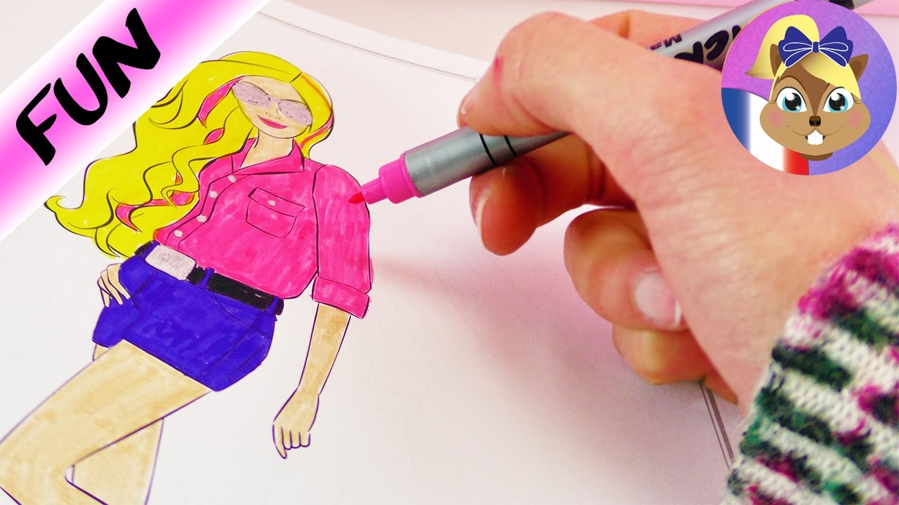 Coloriage barbie super look pour barbie girl colorier dans un cahier de coloriage youtube - Dessin de barbie facile ...