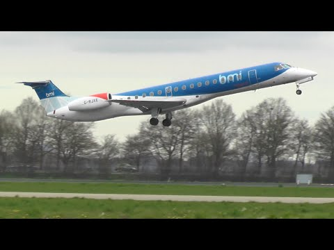 BMI Regional Embraer 145 Takeoff From EHRD