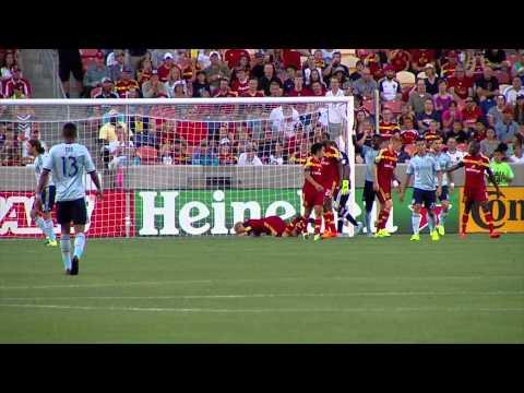 Luke Mulholland bodyslames crossbar during MLS match in Salt Lake City