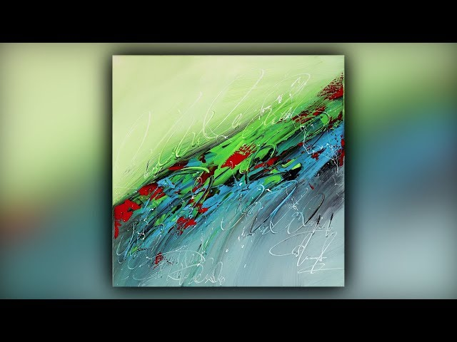 Simple Abstract Painting / Relaxing / Acrylics / Palette Knife / Demo #096