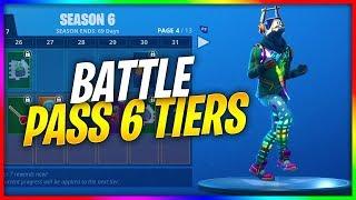 ALL BATTLE PASS TIERS! (ALL SKINS/DANCE EMOTES) Season 6 Fortnite Battle Royale