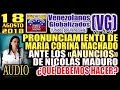 18 8 18 PRONUNClAMlENTO De María Corina Machado Ante Los ANUNClOS De Nicolás Maduro QUÉ HACER mp3