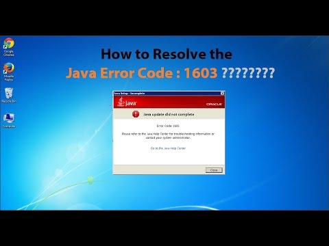 How to Resolve the Java error code 1603 or Java update did not complete.