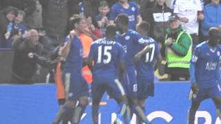 Leonardo Ulloa penalty vs West Ham - King Power Stadium - 17th April 2016!