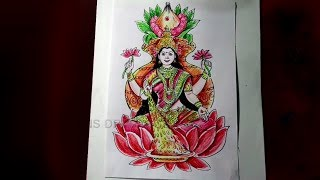 How to Draw Goddess Varalakshmi Drawing