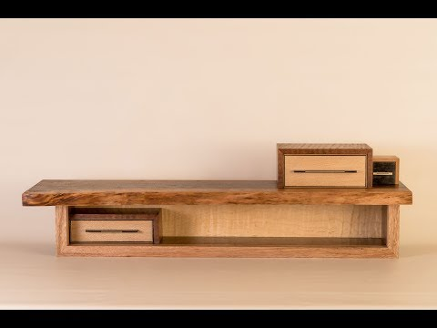 Live Edge Shelf of Tiny Drawers