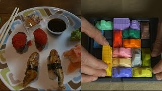 ASMR Let's Eat Sushi (Eel & Flying Fish Roe) + Rush Hour Game