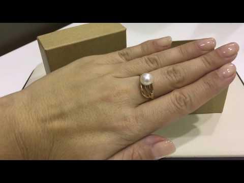 Кольцо 093894 из красного золота 585 пробы с жемчугом