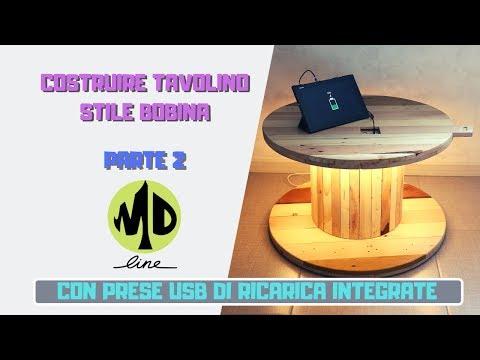 """DIY Costruire un tavolino """"bobina"""" da zero in pallet - seconda parte - con prese USB"""