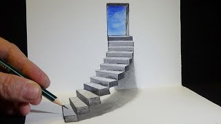 Drawing Stairs to the Door - How to Draw 3D Steps - Vamos
