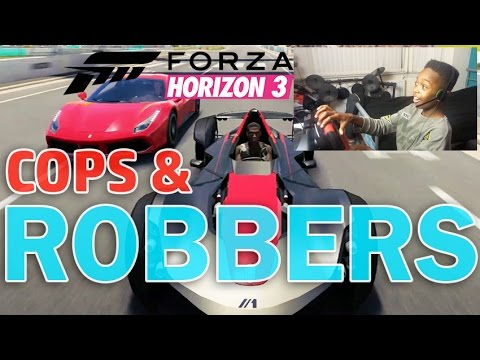 COPS & ROBBERS | ONLINE WITH FRIENDS!! | Forza Horizon 3 Career With Steering Wheel!! thumbnail