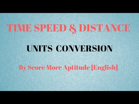 Time Speed and Distance | Units Conversion
