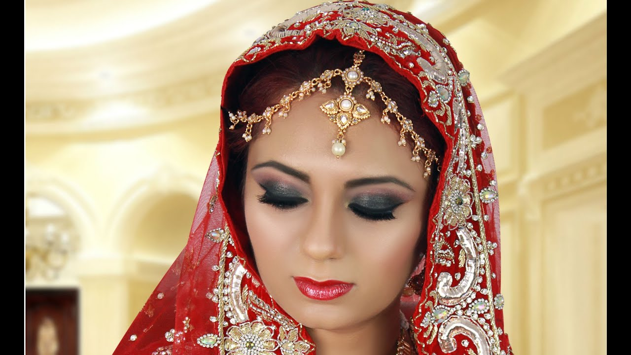 Black Smokey Eye Indian Bridal Makeup Tutorial For Asian