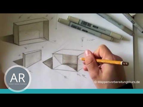 Innenarchitektur zeichnen lernen  Zeichnen lernen, Skizze - Schattierung und Tiefe - Akadmie Ruhr ...