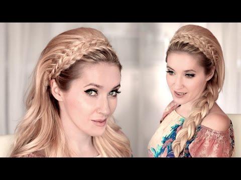 Braided headband hairstyle tutorial for medium/long hair ❤ 60s big teased hair for wedding/prom