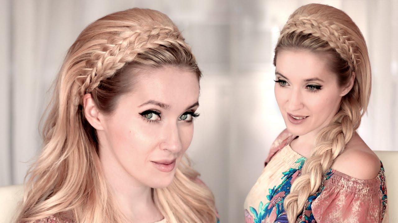 braided headband hairstyle tutorial for medium/long teased hair ❤ back to school, everyday, wedding