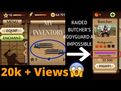 SHADOW FIGHT 2   REVEALING MY INVENTORY AND DEFEATING BUTCHER'S BODYGUARD ON IMPOSSIBLE DIFFICULTY