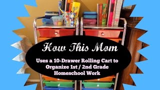 how this mom uses a 10 drawer rolling cart to organize homeschool workboxes