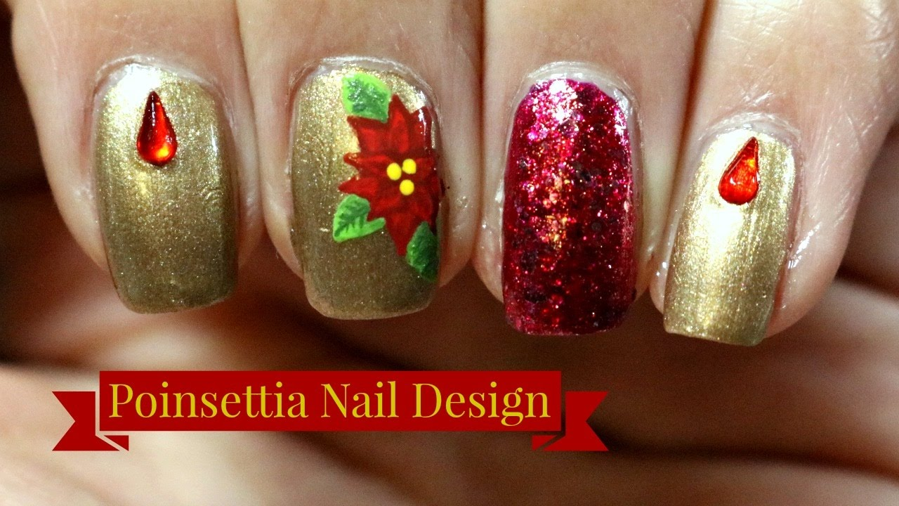 poinsettia nail art tutorial
