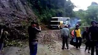 Accident bus fall up to down from mountain
