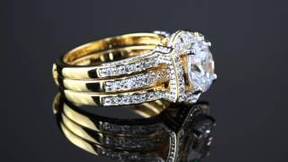 2.37 TCW Round Cubic Zirconia Channel-Set 2-Piece Jacket Bridal Set 18k Gold-Plated