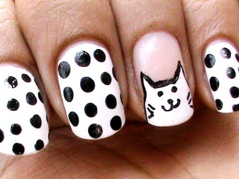 cat face - freehand nail art