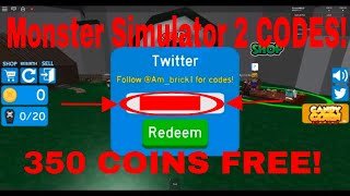Monster Simulator 2 CODES - 350 COINS (ROBLOX