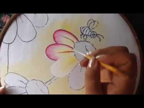 Pintura en tela florecitas 1 con cony youtube - Flores de telas hechas a mano ...