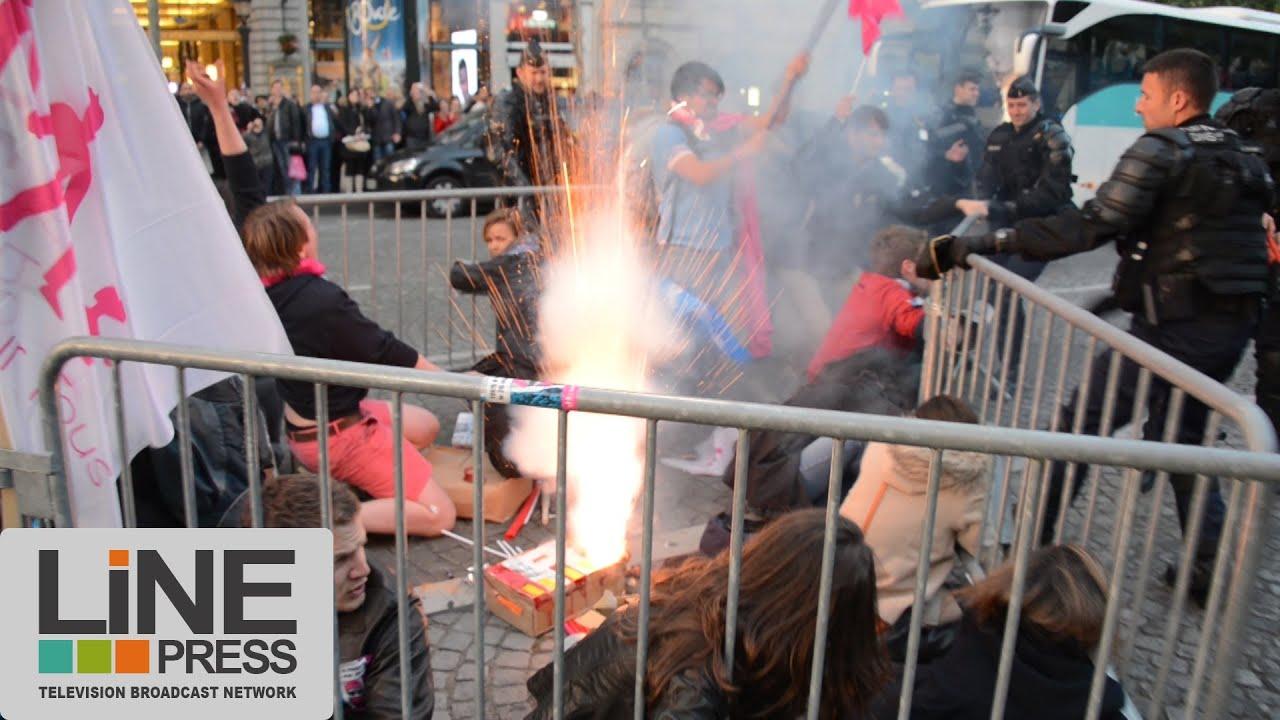 nombreux incidents manif pour tous champs elysées / paris 25 mai