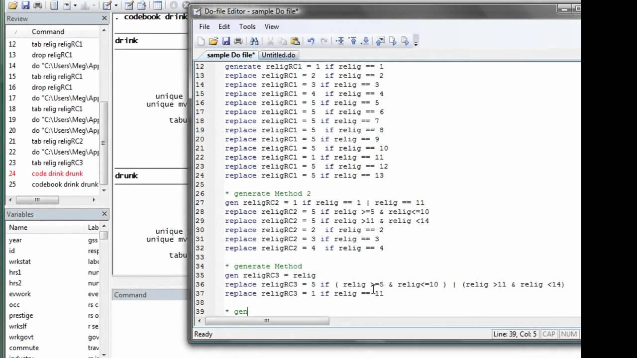 stata 7  generate replace  logical operator and if