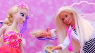 BARBIE & SPIDERMAN BABY Newborn Barbie Hospital Baby Care Center + Frozen Elsa's Bad Check Up