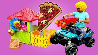 Nerf Pizza Chasing! Funny Videos for Kids with Toys: Ride Cars for Kids