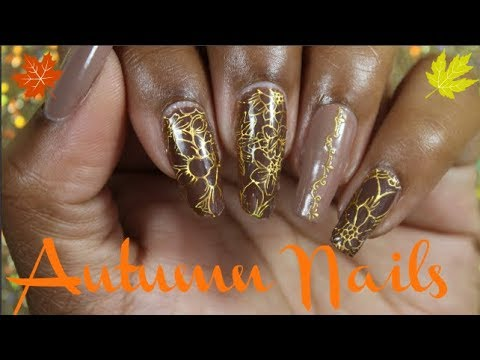 Fall Colors Inspired Nail Art Tutorial Using Nail Stickers Youtube